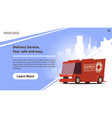 delivery services mobile app with cute red car vector image vector image