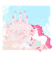 Fairytale landscape with pink magic castle and vector image vector image