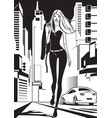 fashion model is walking on a street in new york vector image vector image