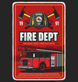 fire department or brigade poster with fire truck vector image vector image