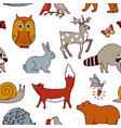 forest animals seamless pattern fox bear raccoon vector image vector image