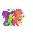 friend love concept colorful happy friend hug vector image vector image