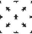 gingerbread man pattern seamless black vector image