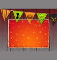 halloween background with bunting and panel on vector image vector image