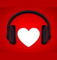 headphones and heart concept for love listening vector image vector image