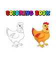 hen cartoon character design isolated on white vector image vector image