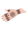 henna indian traditional tattoo ornament on hand vector image