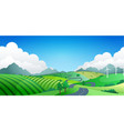 hilly landscape with far mountains and clouds vector image