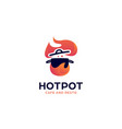 hot pot kitchen catering restaurant logo with pot vector image vector image