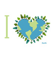 I love Earth Planet sweetheart with trees vector image vector image