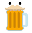 isolated beer with a mustache icon vector image vector image