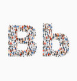 large group people in letter b form vector image vector image