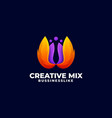 logo creative mix gradient colorful style vector image