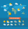 map weather with icons set vector image