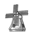 mill sketch hand drawn vintage windmill engraved vector image