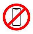 no cell phone sign smartphone icon vector image