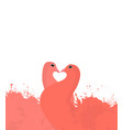 pair of coral enamored doves with watercolor vector image
