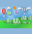 paper art style of landscape with balloon in city vector image