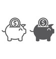 piggy bank line and glyph icon finance and vector image vector image