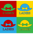 Pop art female hat icons vector image vector image