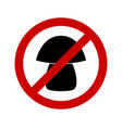prohibition sign for mushrooms on white vector image vector image