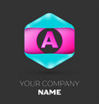 realistic letter a logo in colorful hexagonal vector image vector image