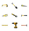 realistic wrench handle hit hacksaw vector image