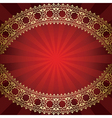 red background with bended golden frame vector image