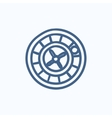Roulette wheel sketch icon vector image vector image