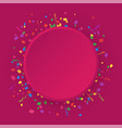 round banner on a pink background with colored vector image