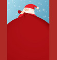 santa claus and a huge bag gifts with space vector image