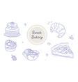 set of linear sweet bakery goods on white vector image