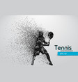 silhouette of a tennis player from particles vector image vector image