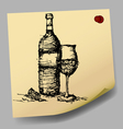 sketch drawing of wine on sticky paper vector image vector image