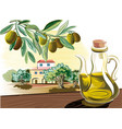 sprig of a cruet with olive oil and olive oil vector image vector image