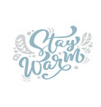 stay warm blue christmas vintage calligraphy vector image
