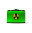 suitcase with radioactive emblem danger power icon vector image