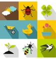 Tending garden icons set flat style vector image vector image