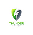 thunder shield logo design vector image vector image