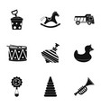 toys icon set simple style vector image vector image