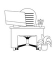 workspace desk armchair computer and plants vector image vector image