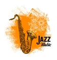 Jazz music Classical saxophone with musical notes vector image