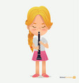 blonde girl tress in pink skirt play on trumpet vector image