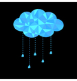 Blue polygonal cloud with hanging drops Polygonal vector image vector image