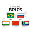 brics and membership flag association of 5 vector image vector image