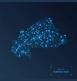 burkina faso map with cities luminous dots - neon vector image