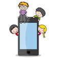 children with a cell phone vector image vector image