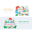 christmas and new year line design style vector image vector image