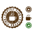 coffee time stamp seal with distress effect vector image