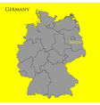 Contour map of Germany on a yellow vector image vector image